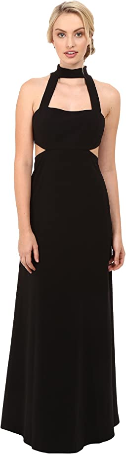 Sleeveless Collar Neck Side Cut Out Gown