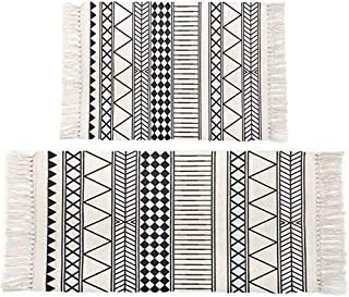 HEBE Cotton Area Rugs Set of 2 Piece 2'x3'+2'x4.2' Machine Washable Black and Cream/Light Grey Cotton Rug Set with Tassels Hand Woven Cotton Rugs Runner for Kitchen,Living Room