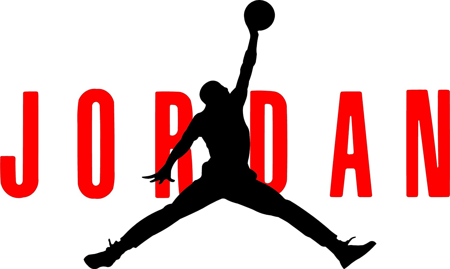 "AIR Jordan Flight 23 Jumpman Logo NBA Huge Vinyl Decal Sticker for Wall Car  Room Windows (23"" inches (Red - Black): Amazon.ca: Home & Kitchen"