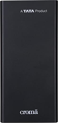 Croma 10W Fast Charge 10000mAh Lithium Polymer Power Bank (18 Months Warranty) (CRCA0083, Black)
