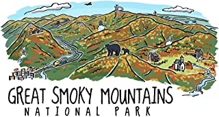 Great Smoky Mountains National Park, Tennessee - Line Drawing - Fall Version (12x18 Art Print, Wall Decor Travel Poster)