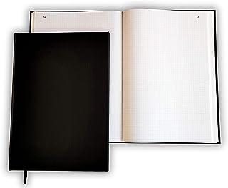 Registre folioté numéroté Vertical 30 x 21,5 cm - 100 pages - Couverture noire - Quadrillé - Petits carreaux - Qualité Pre...