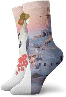 OUYouDeFangA, OUYouDeFangA White Building Bride In Prime Time In Santorini, Grecia, Calcetines Cortos de algodón, para Yoga, Senderismo, Ciclismo, Correr, fútbol, Deportes
