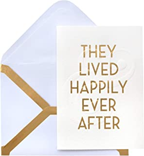 American Crafts 353729 Happily Ever After Greeting Card, Gold Foil and Embossing