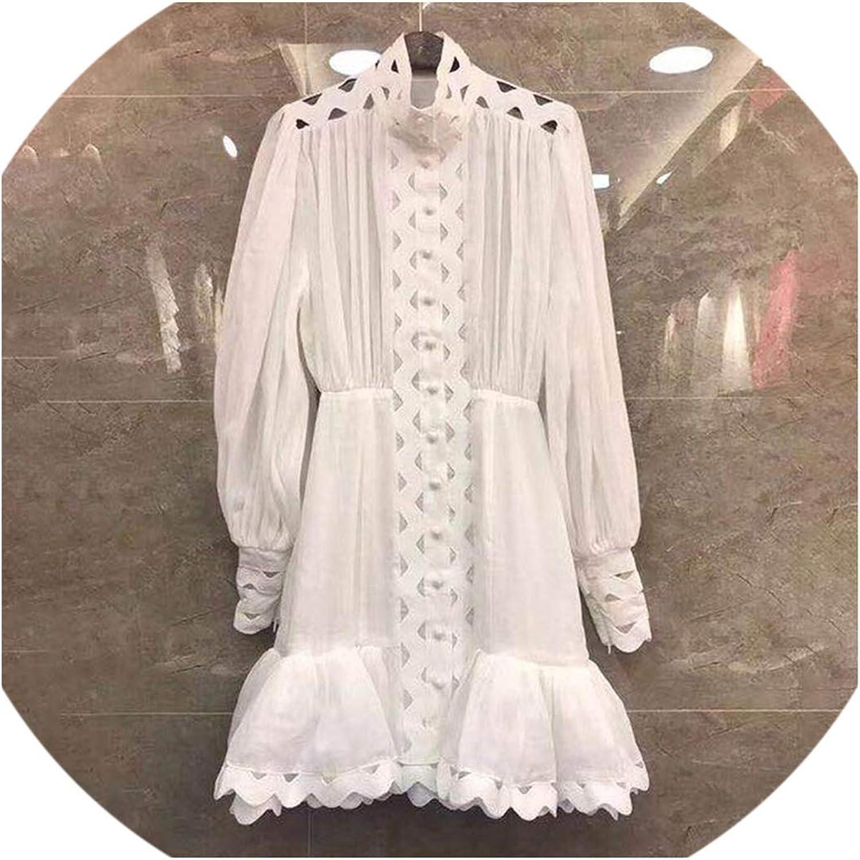 Summer Hollow Out Women Dress Stand Collar Lantern Sleeve High Waist Ruffles Hem Aline Mini Dresses