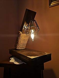 Coppia di Lampade artigianali in legno di abete