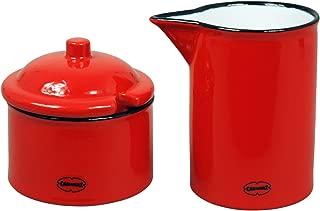 Cabanazレトロエナメル効果セラミックMilk Jug Creamer 200ml and Sugar Pot 120ml 2セット スカーレットレッド