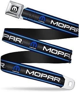 "Buckle-Down Seatbelt Belt - MOPAR Text/Logo/Stripe/Grill Black/Grays/Blue Glow/White - 1.5"" Wide - 24-38 Inches in Length"