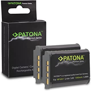 2x Premium Batería NP-BX1 NPBX1 para Sony CyberShot DSC-HX50 | DSC-HX50V | DSC-HX300 | DSC-RX1 | DSC-RX1R | DSC-RX100 | DSC-RX100 II | DSC-RX100MII | DSC-WX300 | HDR-AS10 | HDR-AS15 | HDR-GW66 | HDR-GWP88 y mucho más… [ Li-ion; 1090mAh; 3.6V ]