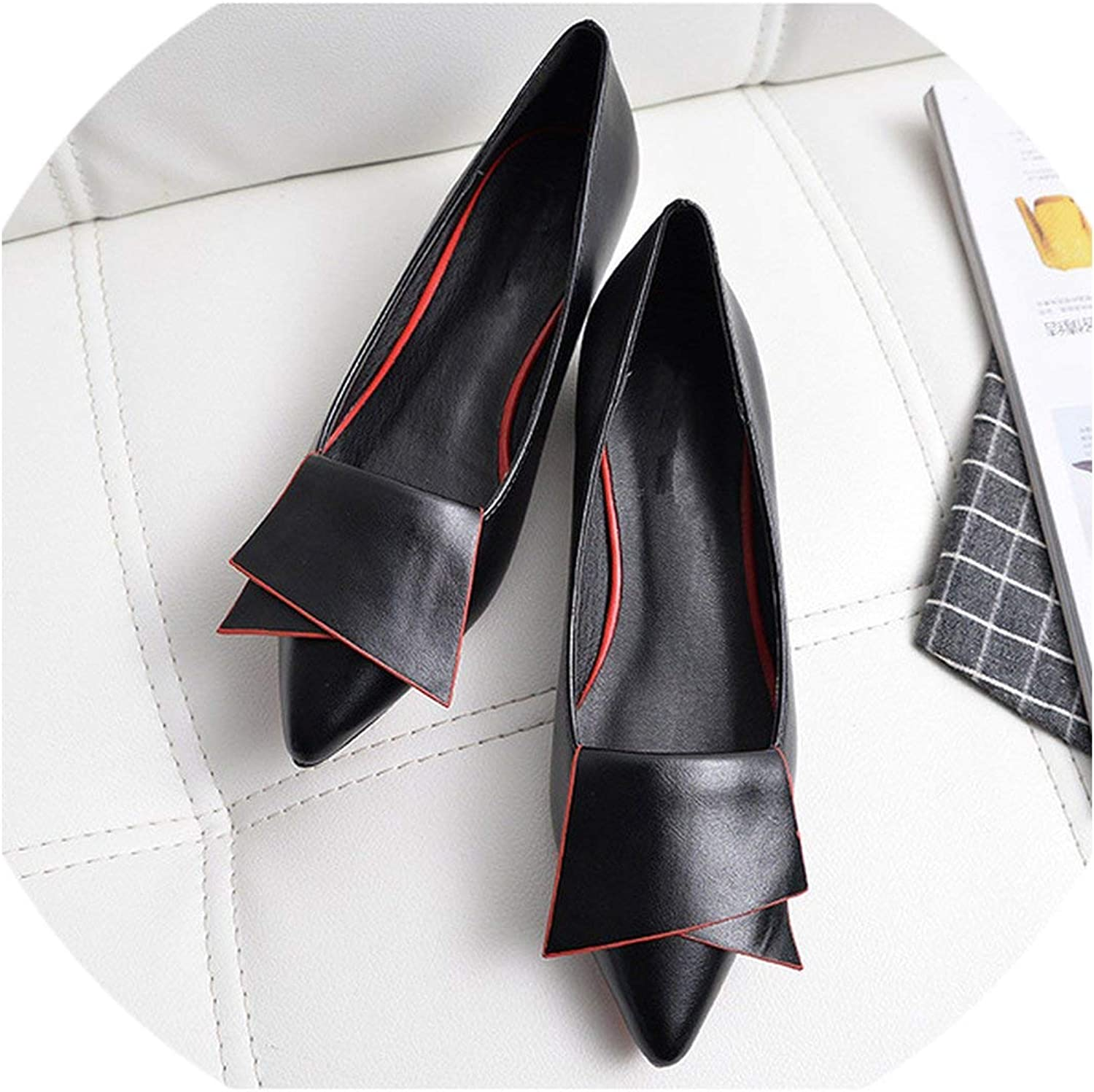 2019 Leather Flat shoes Pointed Toe with Low Woman Loafers Casual shoes