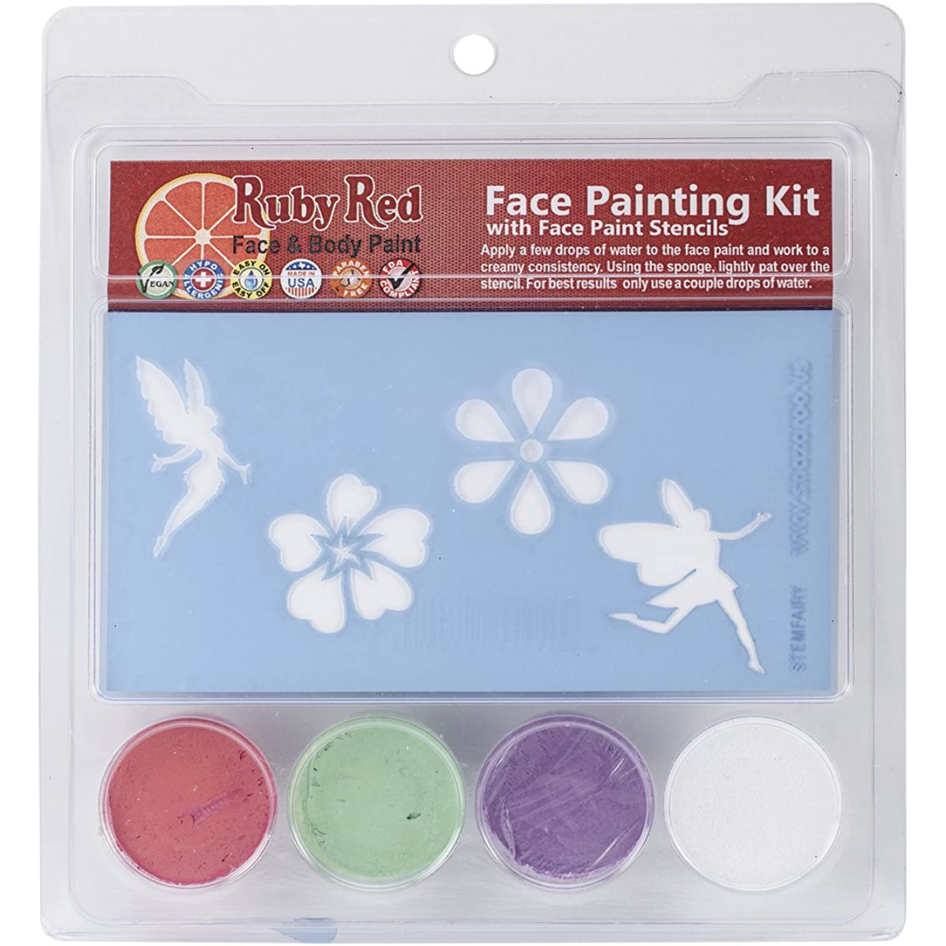 Ruby Red Face Painting Stencil Kit-Fairy