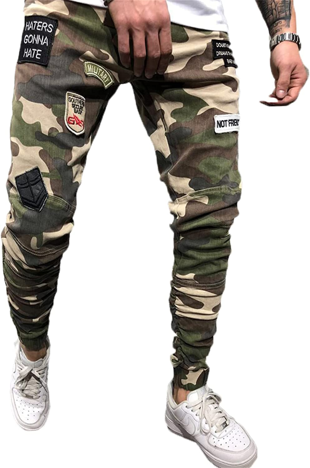 Andongnywell In a popularity Men's Slim fit Max 86% OFF Camo Military Pants Casual Ca Combat