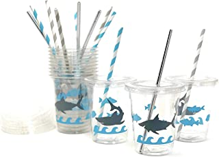 Shark Party Cups - Set of 12 Ocean Pool Birthday Favors Decorations Supplies