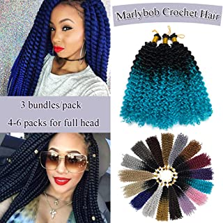 Marlybob Crochet Braids Hair Extensions Synthetic Deep Water Wave Marlibob Hairpiece Afro Jerry Curl Kinky Curly Twist Braiding Weave Hair For Black Women (14'',Black to Lake Blue)