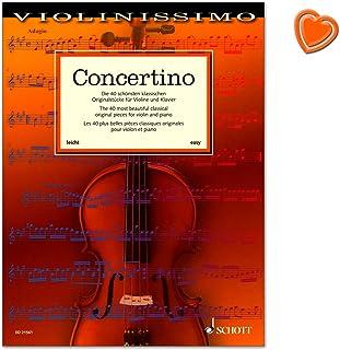 Concertino - 40 schönsten klassischen Originalstücke für Violine und Klavier - Spielmaterial aus der Barockzeit bis in das 21. Jahrhundert - Notenbuch mit bunter herzförmiger Notenklammer