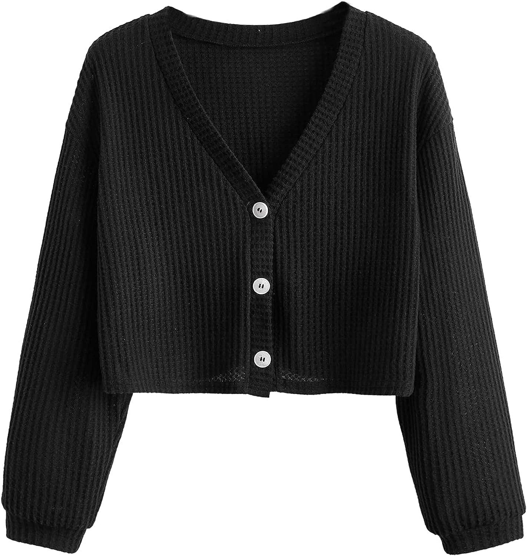 Romwe Women's Plus Size Waffle Knit Long Sleeve Button Down V Neck Crop Tops T Shirt