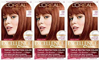 L'Oréal Paris Excellence Créme Permanent Hair Color, 6R light Auburn, Pack of 3