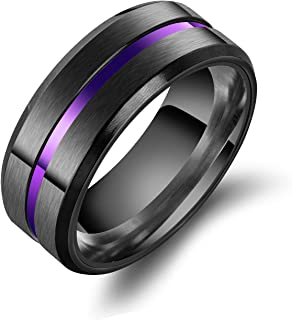8mm Stainless Steel Matte Brushed Wedding Band Rings for Men,Black Blue Purple Gold Colors Available