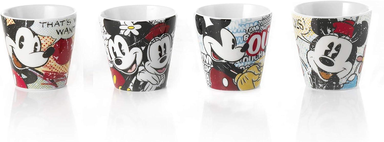 Disney - PWM83/4M - Juego 4Vasos de café con diseño de Mickey y Minnie Mouse