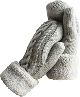 Women's Winter Gloves Warm Lining - Cozy Wool Knit Thick Gloves Mittens in 11 color