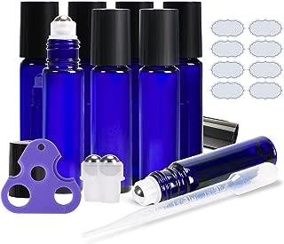 Essential Oil Roller Bottles ULG 8 Pack 10ml Cobalt Blue Glass Empty Refillable Perfume Roll on Bottles with Stainless Steel Roller Balls for Travel (2 Extra Balls, 8 Labels, 1 Opener, 1 Dropper)