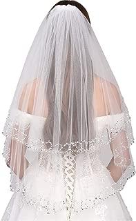 Malishow 2 Tiers Wedding Veil Sequin Beaded Pearl Edge Bling Bridal Veils