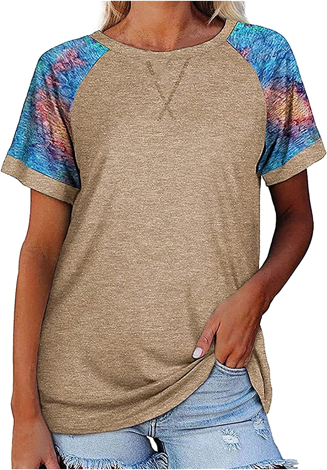 ORT Plus Summer Shirt for Women,Womens Casual Summer O-Neck T-Shirt Color Block Tie-Dye Short Sleeve Tunic Top Blouse