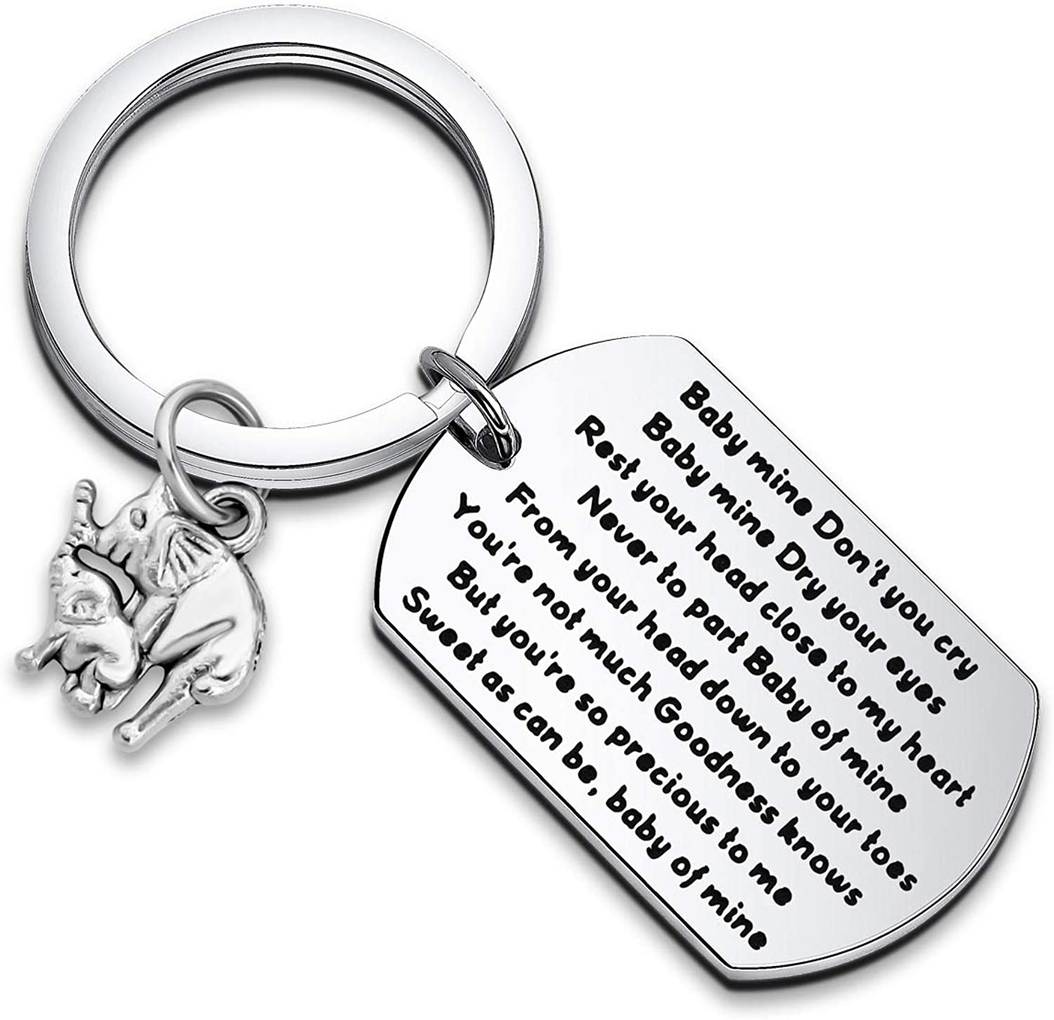 WUSUANED Dumbo Baby Mine Quote Keychain Rest Your Head Close to My Heart Never to Part Mom And Baby Elephant Jewelry Baby of Mine Elephant Gift