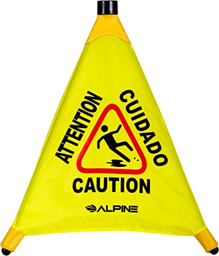 Alpine Industries Pop-Up Wet Floor Sign - Heavy Duty Sturdy and Portable Three Sided Caution Cone - Slip & Fall Accid...