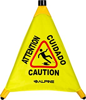 """Alpine Industries 20"""" Pop-Up Wet Floor Sign - Portable Three Sided Caution Cone - Slip & Fall Accident Prevention - for Commercial & Office Use"""