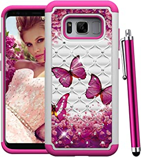 CAIYUNL for Galaxy S8 Case for Women, Luxury Bling Glitter Sparkle Studded Rhinestone Dual Layer Shockproof Protective Amor Phone Case Hard PC&TPU Girls Cover for Samsung Galaxy S8-Hot Pink Butterfly