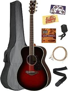 Yamaha FS830 Solid Top Small Body Acoustic Guitar - Tobacco Sunburst Bundle with Gig Bag, Tuner, Strings, Strap, Picks, Austin Bazaar Instructional DVD, and Polishing Cloth