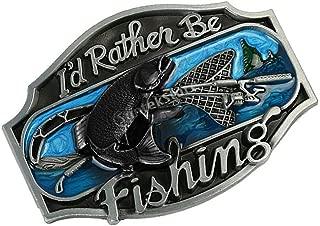 Lovoski Wildlife Flying Sea Fish I'd Rather Be Fishing Belt Buckle For Cowboy Men