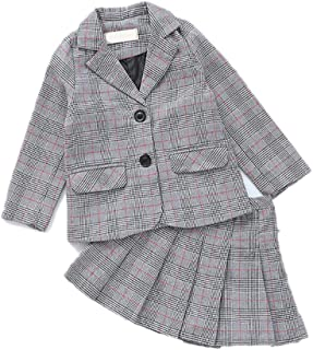 JIANLANPTT Boys Girls Blazer Pant/Skirt Outfit Set Plaid Children Clothing Set