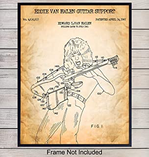 Eddie Van Halen Patent Art Print - Vintage Wall Art Poster - Chic Rustic Home Decor for Bedroom, Living Room, Game Room, Man Cave, Dorm Room - Gift for Musicians, Guitar Players - 8x10 Photo Unframed