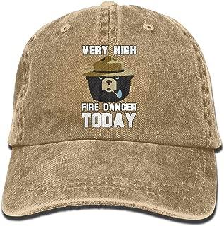 WQ UNIQUE Adult Denim Cotton Baseball Hat Cap Cotton Adjustable Hats Unisex Smokey Bear 'Fire Danger Very High Today' Polo Style