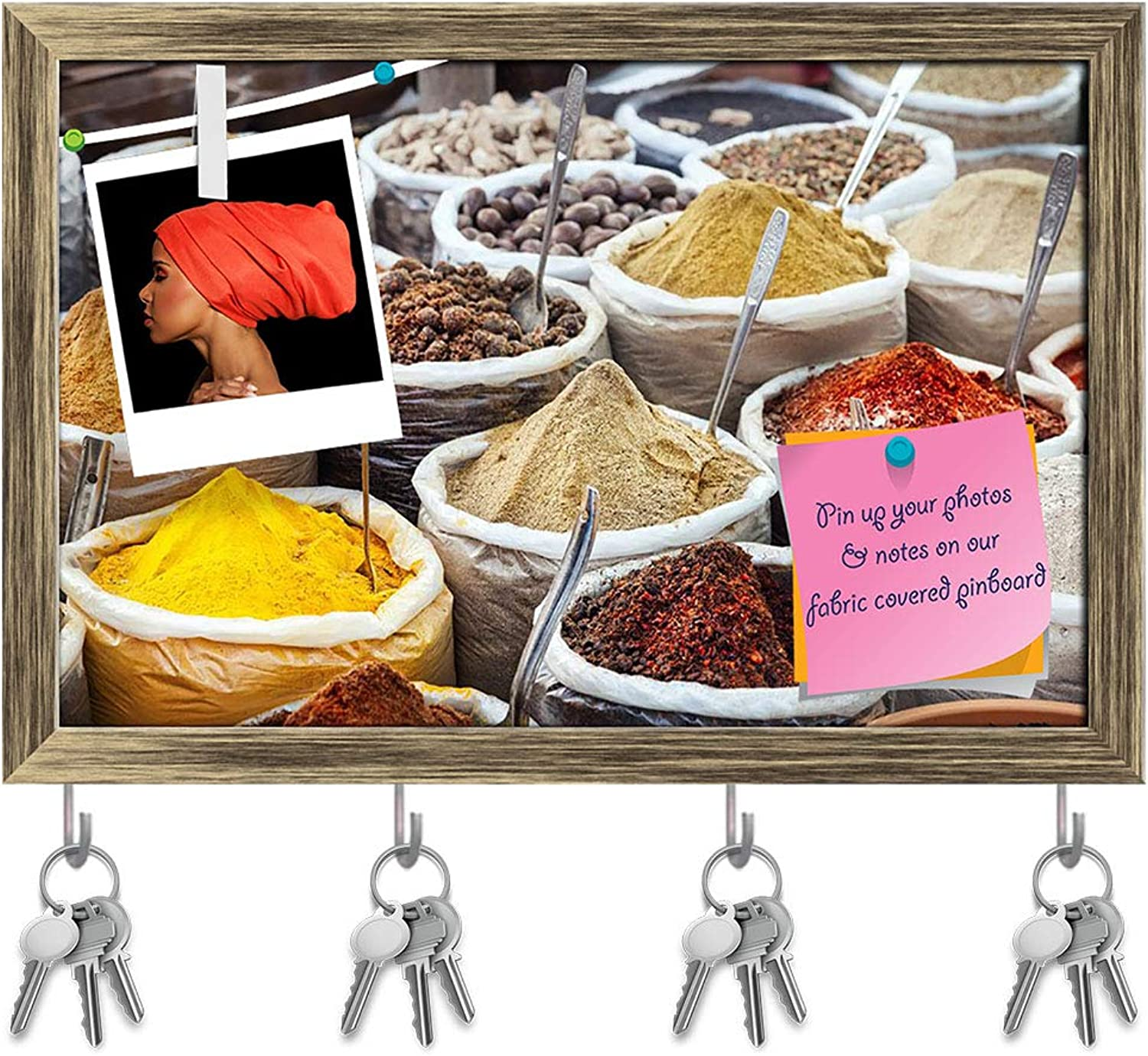 Artzfolio Indian colorful Spices & Tea Key Holder Hooks   Notice Pin Board   Antique golden Frame 18 X 12Inch