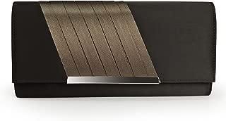 Becko Satin & Matte Wallet and Purse Long Clutch Bag Handbag Card Holder (Black)