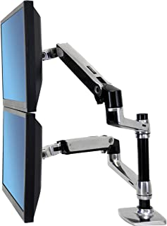 Ergotron – LX Dual Stacking Arm – 25-Inch Extension, Polished Aluminum
