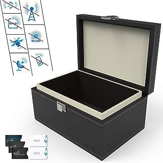 $25 » Faraday Car Key Fob Protector Box, Dimgogo PU Leather Faraday Cage with 5 RFID Signal Blocking Sleeves for Car Keys, Credi...