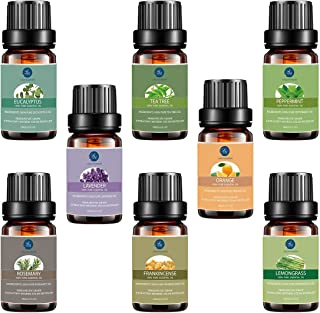 Top 8 Essential Oils Set,Pure Therapeutic Grade Aromatherapy Oils,Lavender,Eucalyptus,Lemongrass,Frankincense,Orange,Rosemary,Peppermint,Tea Tree Essential Oils, 0.33 Fl Oz