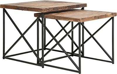 3bba6eb6fe73 Belmont Home BH Volos Wood and Metal Nesting Tables (Set of 2) Brown