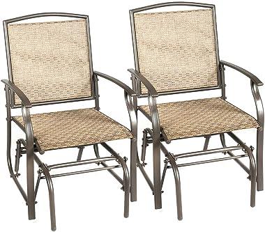DORTALA 2PCS Patio Swing Single Glider, Single Iron Rocking Chair, Steel Frame, Swing Chair Rocker Seating, Indoor and Outdoo