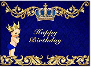 HUAYI 5x3ft Happy Birthday Backdrop Royal Boy Themed Little Prince Crown Birthday Background Party Photobooth Vinyl Banner GW-933