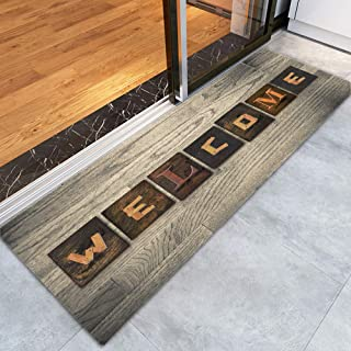 Welcome Memory Foam Door mat Non Slip Super Absorbent Soft Coral Fleece Bathroom mats Rustic Wood Grain Print Bath Rugs Doormats Carpet 47 X 16 Inches