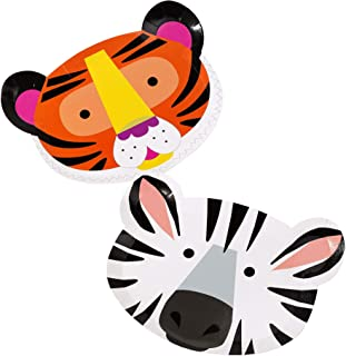 Talking Tables FACE Safari Jungle Zoo Animal Tiger Zebra Party Plates, Pack of 12, Width 23cm, 9
