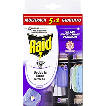 Raid Antitarme Gel per Armadi, Confezione da 6 Pezzi al Profumo di Lavanda, Protegge per l'Intera Stagione