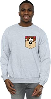 Looney Tunes Men's Tasmanian Devil Face Faux Pocket Sweatshirt