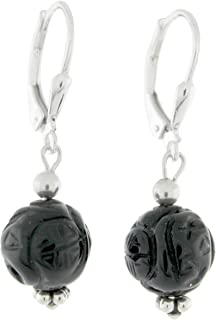 Sterling Silver 10mm Carved Black Onyx Bead Lever Back Earrings
