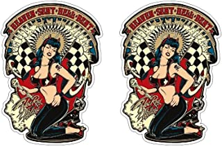 Hot Rod Hellcat Sexy Pin-up Girl Retro Vintage Biker Oldschool Sticker Decal Pegatinas Aufkleber/Plus Coconut Shell Keychain Ring/Chopper Outlaw 1% MC Car Truck Bumper Bike Notebook Skateboard